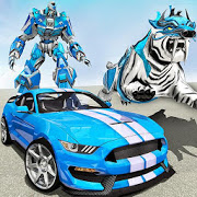 US Police Transform Robot Car White Tiger Game